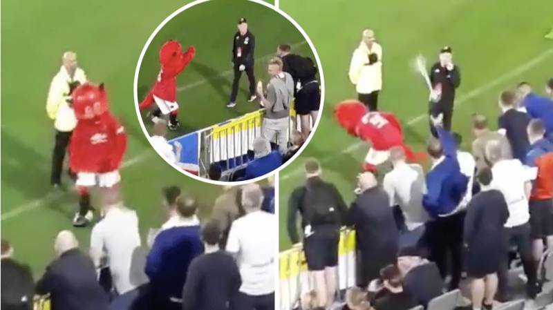 Manchester United Mascot 'Fred The Red' Spotted Winding Up Leeds Fans