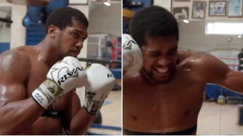 Anthony Joshua Shows Off Scary Power As He Smashes Punching Bag While Sitting Down