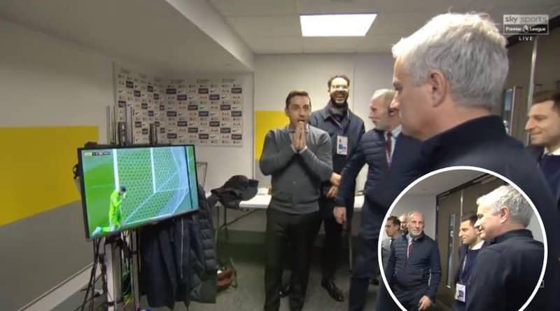 Gary Neville Hilariously Gatecrashed Jose Mourinho's Interview After David De Gea's Howler