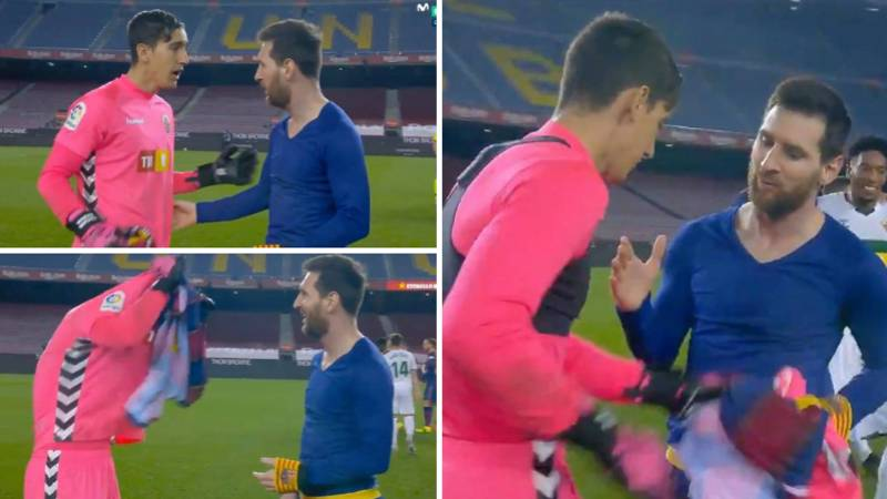 Elche Goalkeeper Edgar Badia Looks Genuinely Shocked When Lionel Messi Asks For His Shirt