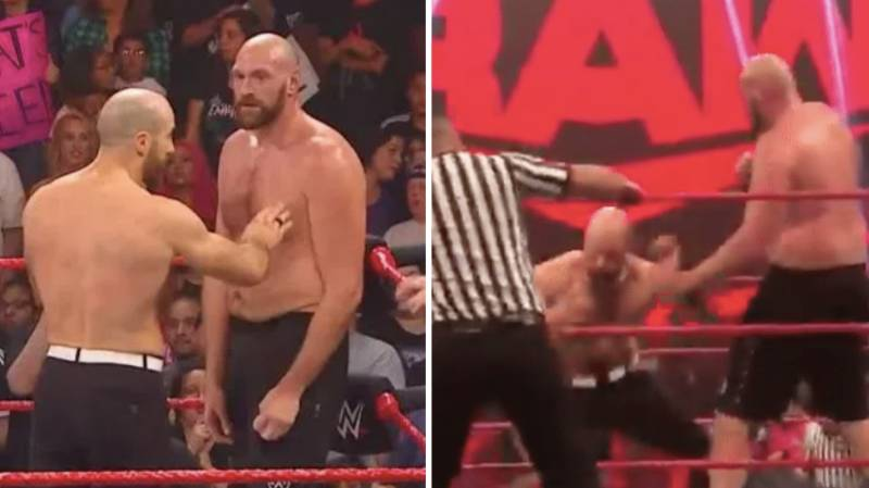 Tyson Fury Landed KO Shot On WWE Superstar Cesaro After Raw Went Off Air