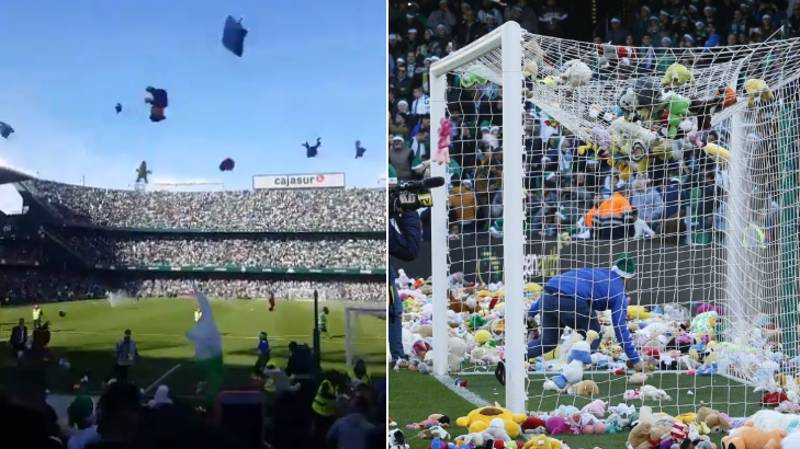 Real Betis Fans Throw Toys On The Pitch For Kids In Need Over Christmas