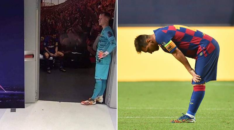 First Picture Emerges Of 'Broken' Lionel Messi In Dressing Room During Bayern Munich's 8-2 Humiliation Of Barcelona