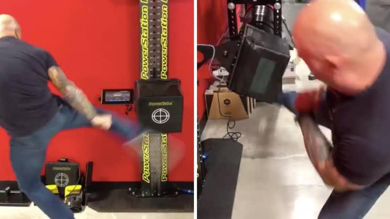Joe Rogan Uses Insanely Powerful Kicks To Break Francis Ngannou's PowerKube Record At 52-Years-Old