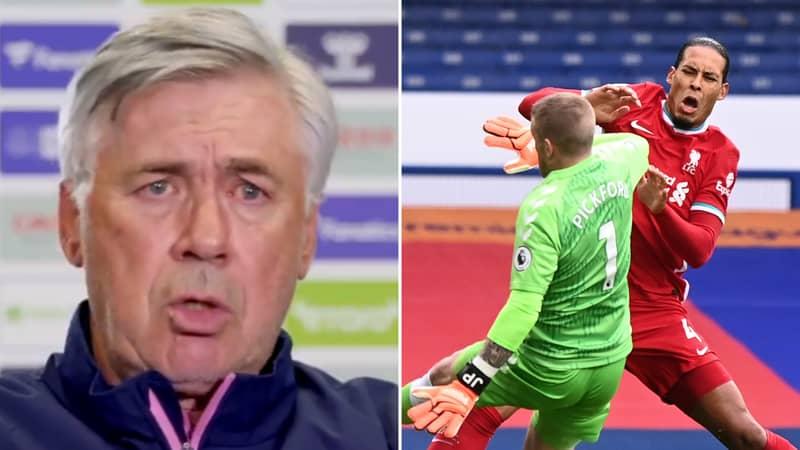 Carlo Ancelotti Reveals Jordan Pickford Is 'Very Sad' About Virgil Van Dijk's Injury