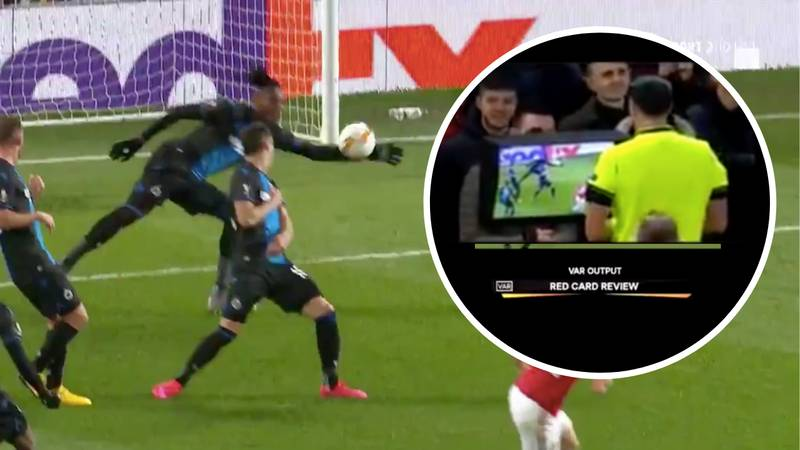 Club Brugge's Simon Deli Sent Off For Hilarious Handball Against Manchester United