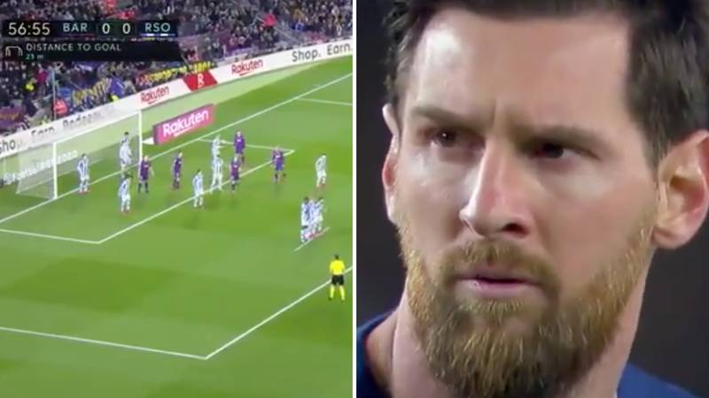 New Footage Of Lionel Messi's Incredible Reaction To Real Sociedad Defending His Free-Kick