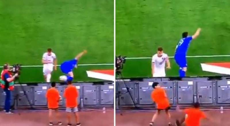 Nicolo Barella Wipes Out Ball Boy By Accidentally Smashing Ball Into Face