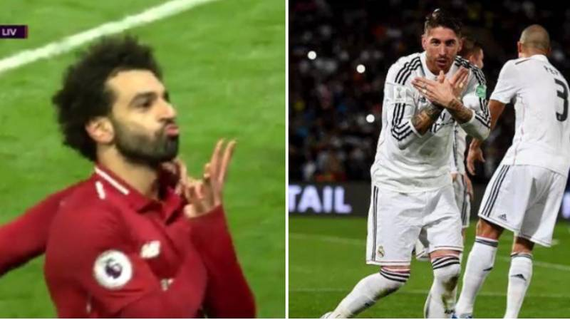 People Think Mohamed Salah Mocked Sergio Ramos With His Celebration Today
