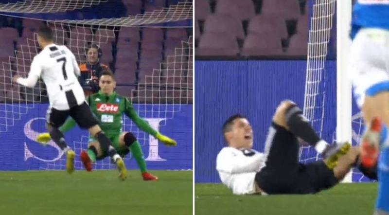 Napoli Goalkeeper Alex Meret Sent Off After Cristiano Ronaldo Dived In Challenge
