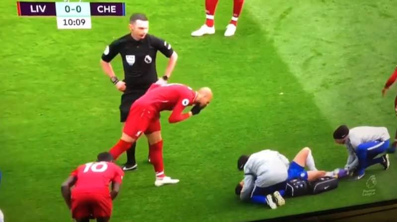Liverpool's Fabinho Appears To Blow His Nose On Chelsea's Eden Hazard