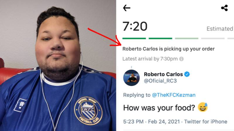 Man Finds Out UberEats Driver Is Called Roberto Carlos, He Tweets About It And Gets Biggest Shock Of His Life