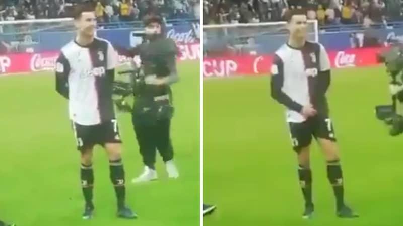 """Cristiano Ronaldo Grabbed His Crotch When Lazio Fans Chanted """"Messi, Messi"""" Towards Him"""