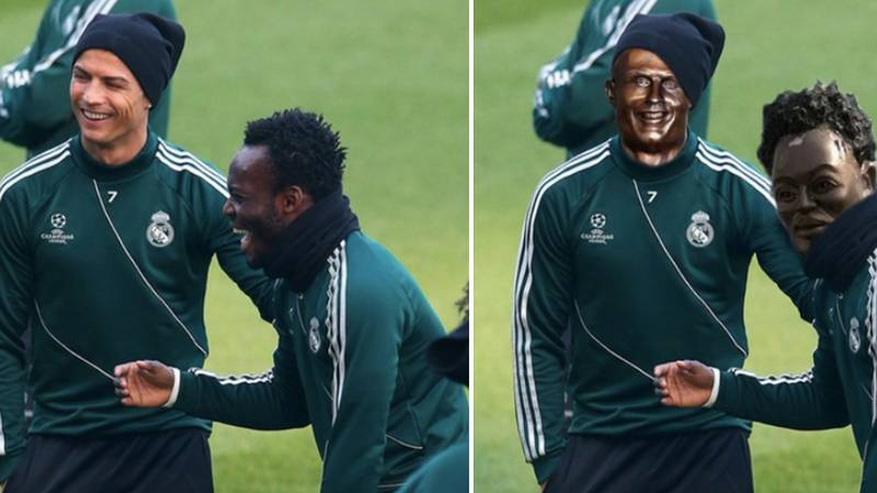 Michael Essien Has Life-Size Statue Erected In Ghana And It's Actually Terrifying