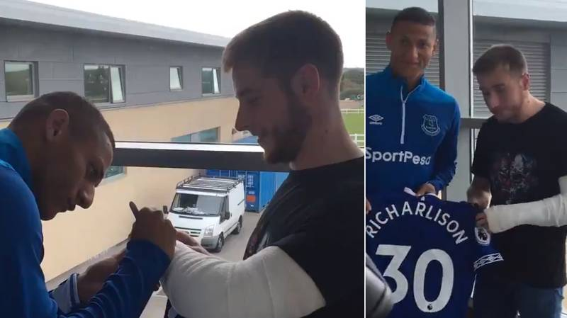 Richarlison Gives Signed Shirt To Everton Fan Who Dislocated His Shoulder In Away End