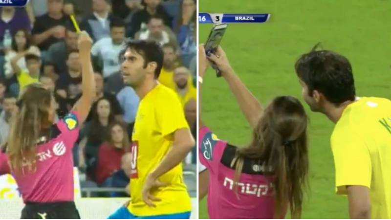 Referee Gives Kaka A Yellow Card Before Taking Selfie With Him