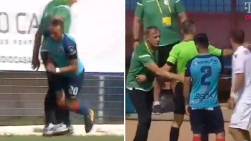 The Crazy Moment Romanian Manager Tackles Player And Gets Sent Off