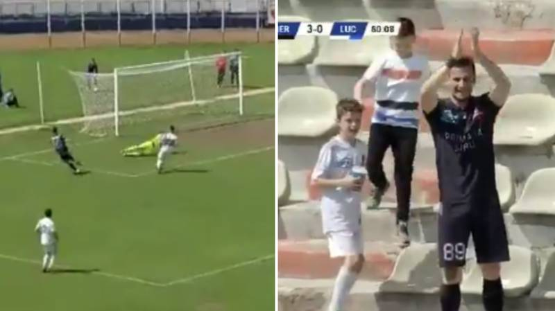 Romanian Player Takes Place In Stands To Celebrate His Goal