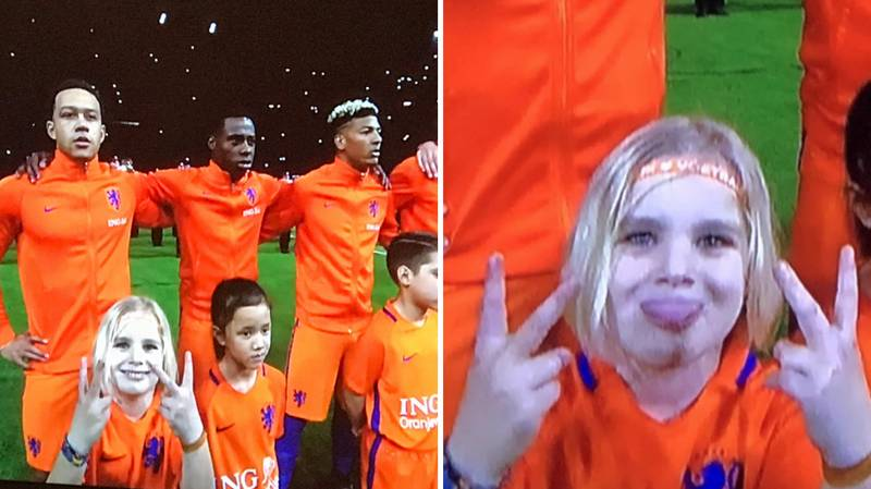 Netherlands Mascot Throws Up The 'V Sign' Ahead Of England Game