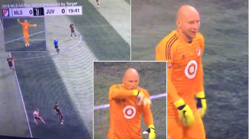 Brad Guzan Chats To Commentary Team Via Earpiece And Microphone vs Juventus