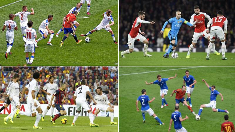 There's A Website Dedicated To Pictures Of Andres Iniesta Surrounded By Opposing Players