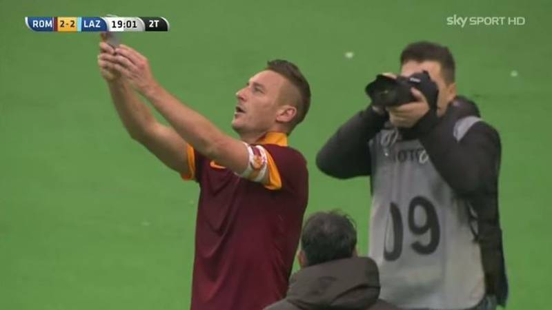 Throwback To Francesco Totti Celebrating A Rome Derby Goal With A Selfie