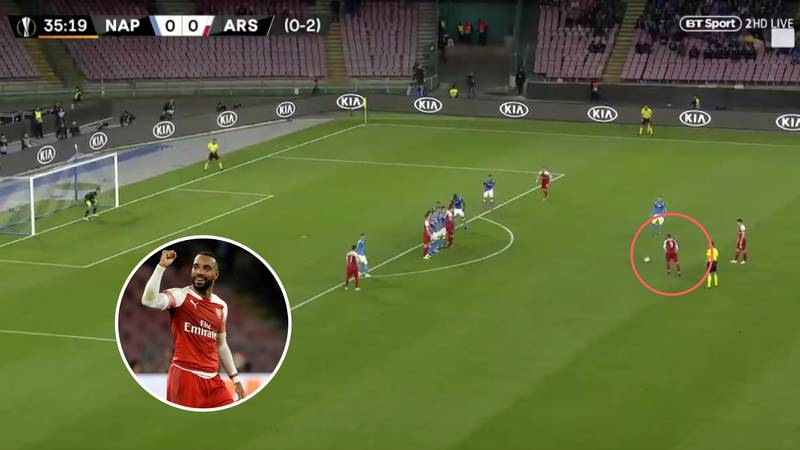 Alexandre Lacazette Scores Stunning 30-Yard Free-Kick For Arsenal Against Napoli
