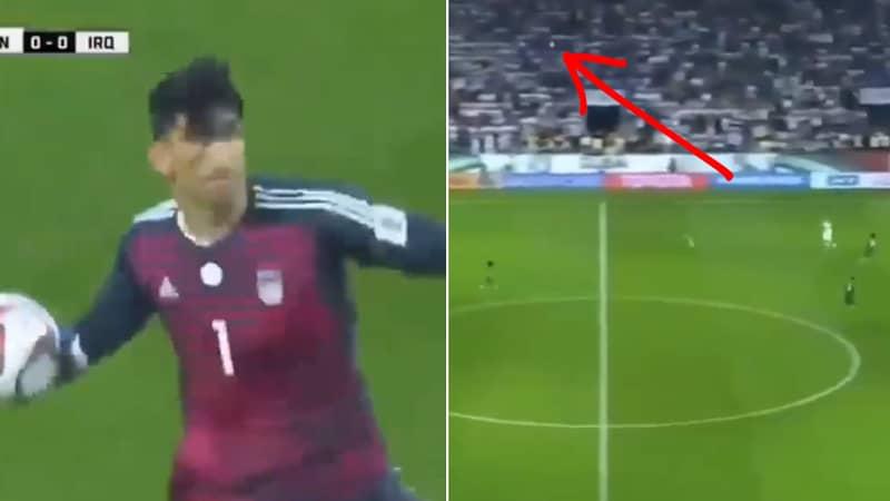 Iran Goalkeeper Alireza Beiranvand Threw The Ball 80 Yards Against Iraq Last Night