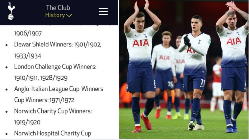 The Club Honours/Trophy List On Tottenham's Official Website Is Going Viral