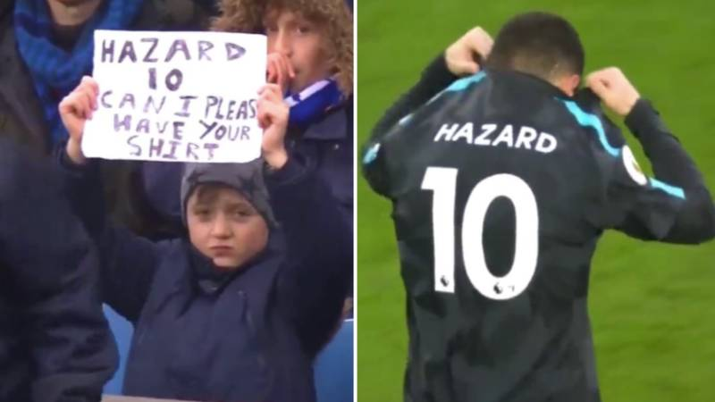 Lad Holds Sign Up Asking For Hazard's Shirt For 90 Minutes, Hazard Responds