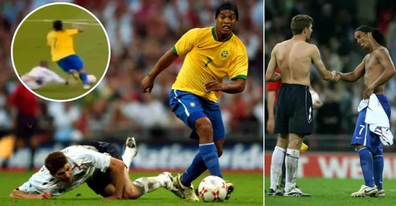 When Ronaldinho Made Steven Gerrard Fall Over With This Disgusting Nutmeg
