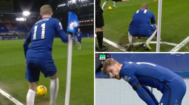 Timo Werner Sums Up Chelsea 1-3 Manchester City By Injuring Himself Taking A Corner
