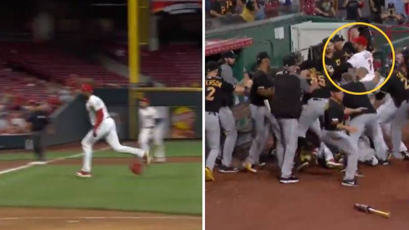 The Incredible Moment Baseball Player Takes On Whole Team In Crazy Brawl