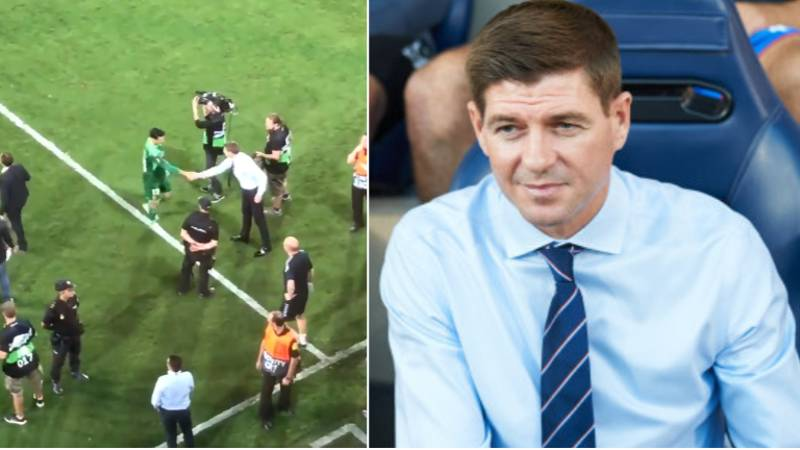 Rangers Manager Steven Gerrard Graciously Shakes Every Villarreal Players Hand After Full-Time