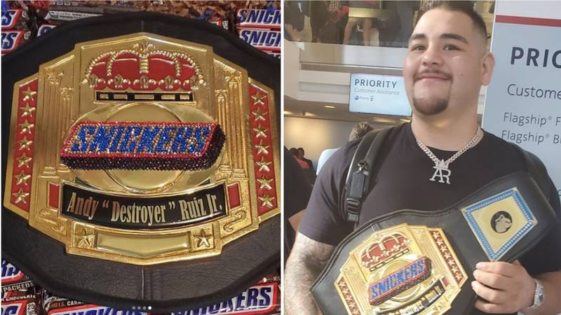 Andy Ruiz Jr Hilariously Pictured With Snickers Belt He Received For Beating Anthony Joshua