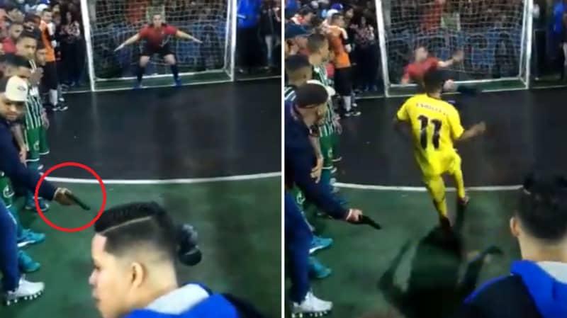 Brazilian Futsal Player Misses Penalty Under Threat Of Gun Wielding Fan
