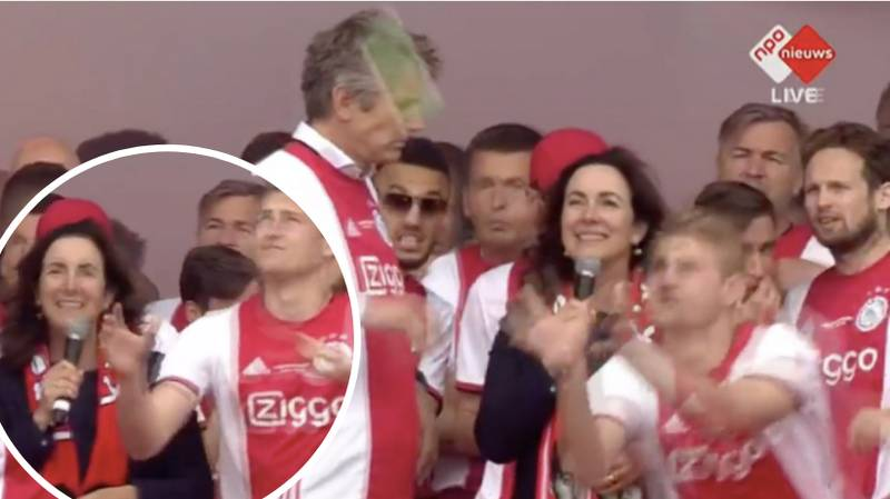 Matthijs De Ligt Catches Object Thrown At Major Of Amsterdam During Title Celebrations