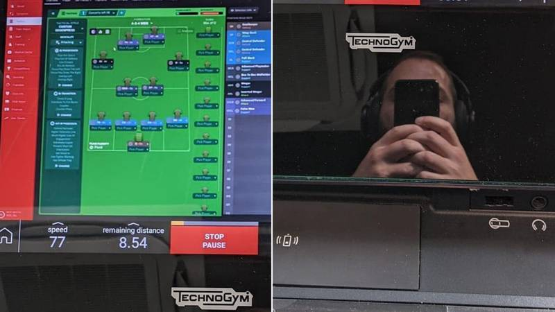 LAD Changes The Game By Playing Football Manager At The Gym