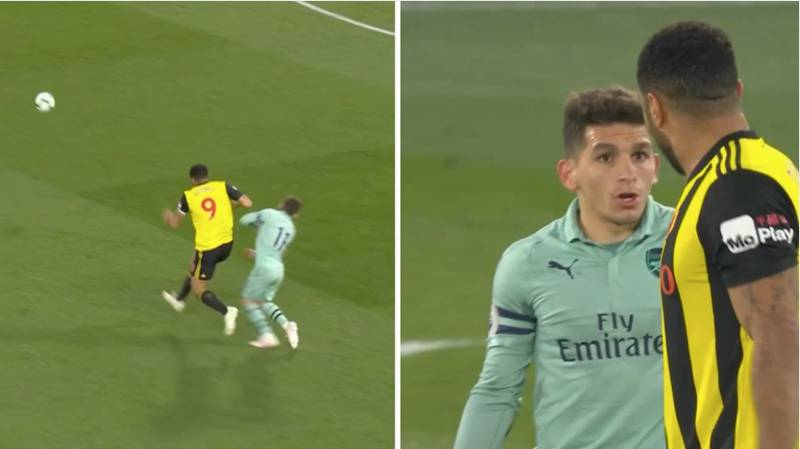 Watford Captain Troy Deeney Sent Off For An Elbow On Arsenal's Lucas Torreira