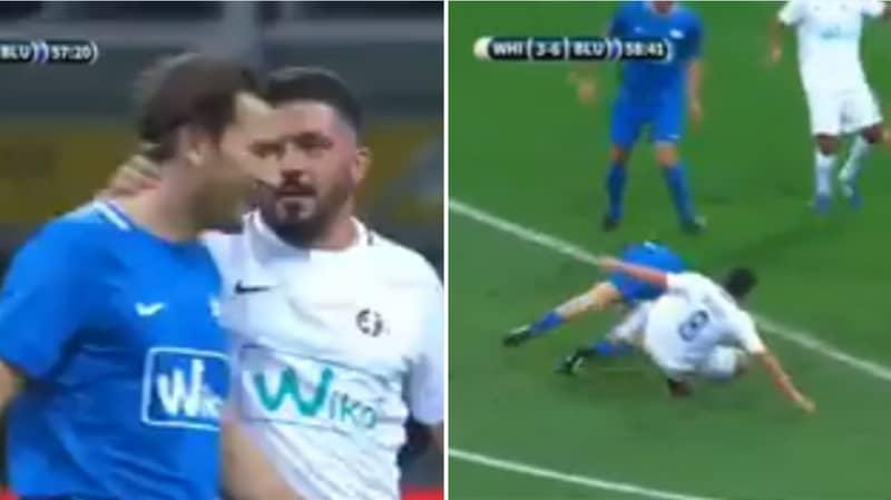 Gennaro Gattuso Goes Full Gattuso Just 90 Seconds Into Andrea Pirlo's Testimonial
