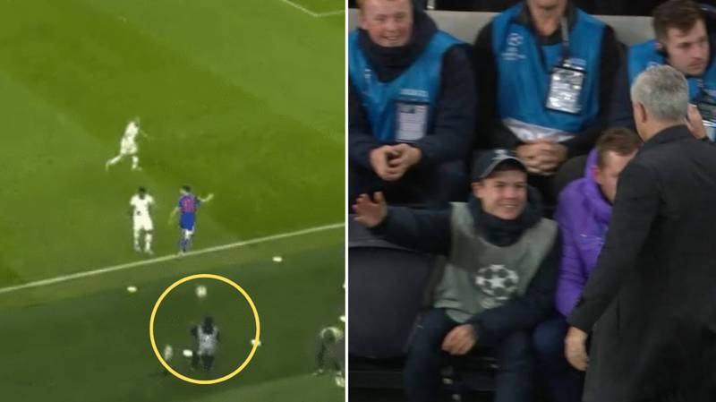 Jose Mourinho Celebrates With Tottenham Ball Boy For Harry Kane 'Assist' In The Champions League