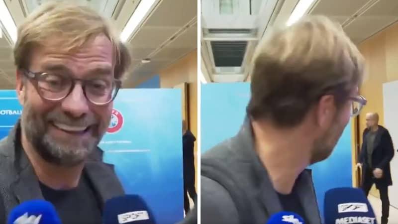 Jurgen Klopp's Hilarious Response To Seeing Pep Guardiola Is Behind Him