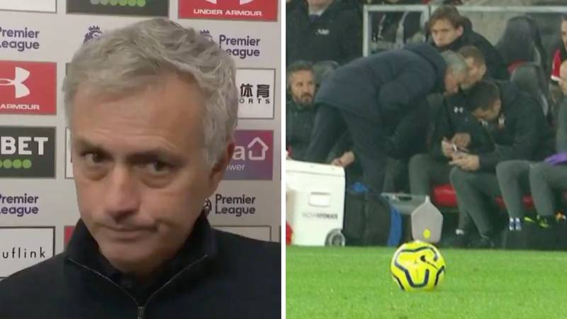 Jose Mourinho's Reaction To His Yellow Card For 'Spying At Southampton's Tactics' Is Priceless