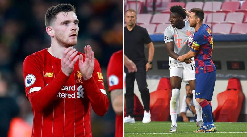 Andy Robertson Reacts To Alphonso Davies' Unreal Performance Against Barcelona