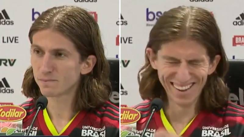 Filipe Luis' Flamengo Presentation Interrupted By Classic Porn Noise Playing Off Journalist's Phone